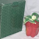 Fitz & Floyd Condiment Jar Lid Spoon Red Pepper Gardening Gourmet Porcelain New