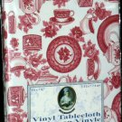 Lady Victoria Tablecloth Vinyl Flannel Back Tea Cups Sugar Teapots Red 52x90 NEW