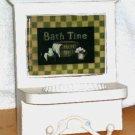 Wall Tile Soap Holder Towel Hooks Plaque Vintage Reproduction Bath Time Decor