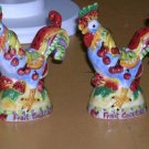 Sharon Neuhaus Salt & Pepper Shakers Fruit Cocktail Figural Roosters Poultry New