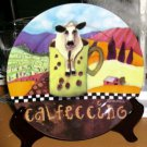 Sharon Neuhaus Plate Calfee Mates Cow Coffee Calfeccino Dessert Porcelain New