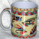 Siddhia Hutchinson Mug Splash Fishing Vintage Flys Lure Coffee Stoneware New