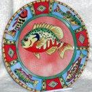 Siddhia Hutchinson Plate Splash Fish Bass Salad Dessert Salad Collectible New