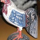 Rooster Statue Wood Hand Painted Carved Primitive Folk Art Blue Red Black New
