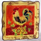Rooster Dinner Plate Sunflowers Tuscan Style Toile Square Oak Leaves Acorn New
