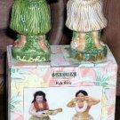 Paul Brent Salt & Pepper Shakers Hula Girls Aloha Luau Sakura Stoneware New