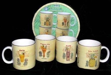 Paul Brent Mugs Tiki Tiki Cocktail Recipes 4 Sakura Stoneware Collectibles 4 NEW