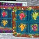 Susan Winget Sectional Platter Square Majolica Embossed Vineyard Grapes New