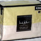 Nicole Miller Sheet Set King Garden Party Yellow Ivory 400 TC First Quality New