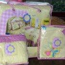 That's Mine Quilt Twin Valance Sham Set Audrey Yellow Butterflies Flowers New