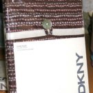 DKNY Sham Play Pink Brown Floral Stripe Pillow Cover Standard King New