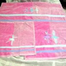 Just For Bath Towel Set Ballerina Pink Hand Wash Cloth Cotton Velour Spa 3pc New