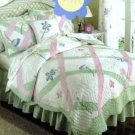 Thats Mine Kids Quilt Twin Lattice of Flower Floral Applique Embroidery New