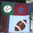 Thats Mine Pillow All Sports Football Soccer Star Applique Embroidered Decor New