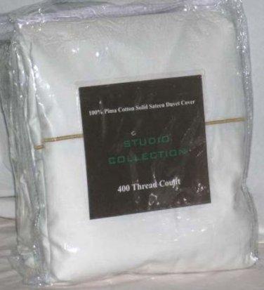 Studio Collection Duvet Comforter Cover Pure White Queen 400 TC Pima New