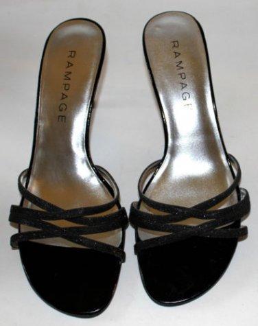 Rampage High Heels Frankie Black Glitter Dressy Open Toe Straps Evening Wedding