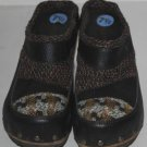 Kenzie Moby Clogs Mules Leather Wool Patchwork Brown Brass Grommets Size 7 1/2