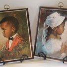 Vintage Home Interior African American Boy & Girl Pictures Homco Set 2