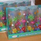 Pink Flamingo Coolers Palm Tree Acrylic Tiki Coolers Tumblers Beach Set 8 New