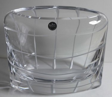 Rosenthal Pocket Pillow Vase Lead Crystal Etched Geometric Style Slovenia New