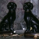 Black Labrador Retriever Book Ends Statuary Figurines Cast Resin Set 2 New
