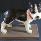French Bulldog Statuary Platform Figurine Cast Resin Brown White Hand Painted