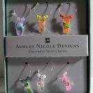 Ashley Nicole Wine Charms Decorative Enameled Metal Beaded Flip Flops Set 6 New