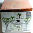 Caribbean Palm Glass Wine Glasses Cheese Platter Dome Set Trees 6pc Hand Painted