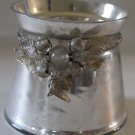 Mercury Glass Candle Holder Centerpiece Antiqued Silver Mirror Beaded Leaves New