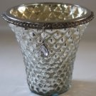 Mercury Glass Candle Holder Centerpiece Antiqued Silver Mirror Beaded Quilted