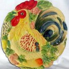 Rooster Chicken Platter Pictoral Embossed Tuscan Majolica Round Serving New