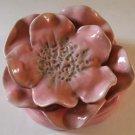 Brenda Holzke Covered Trinket Box Figural Flower Pink Rose Petals Magenta New