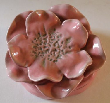 Brenda Holzke Covered Trinket Box Figural Flower Pink Rose Petals Magenta New