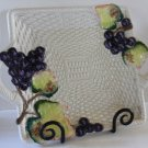 Fitz Floyd Tray Handled Square Serving Stoneware Platter Hand Painted Grapes