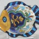 Terra Bella Bowl Tray Fish Shaped Talavera Style Figural Majolica Hand Painted