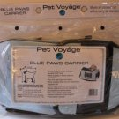 Blue Paws Pet Carrier or Bed Crate Animal Carry-On Blue Black Faux Leather New