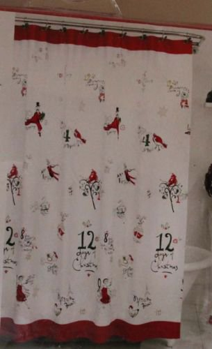 Lenox Shower Curtain 12 Days of Christmas Partridge Pear Swans Diamond Ring New