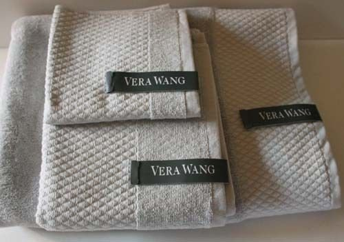 Vera Wang Towel Set Gray Egyptian Cotton Loops Geometric