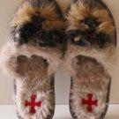 Fuzzynation Slippers Yorkie Dog Scuffs Beige Knit Faux Fur Small 5-6 New