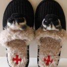 Fuzzynation Slippers Pug Dog Scuffs Black Knit Faux Fur Small 5-6  New
