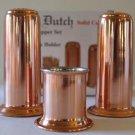 Old Dutch Salt Pepper Shakers Toothpick Holder Set Solid Copper Nickel Lined New