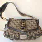 Guess Handbag Satchel Jacquard Antonia Flap Top Black Initial Faux Leather New