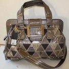 Guess Handbag Shoulder Festival Frame Satchel Mock Alligator Laptop Bronze New