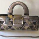 Guess Handbag Shoulder Festival Baguette Mock Alligator Satchel Bronze Frame New