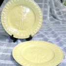 Bordallo Majolica Plates Tropical Palm Trees Yellow Embossed Ceramic Set 2 New