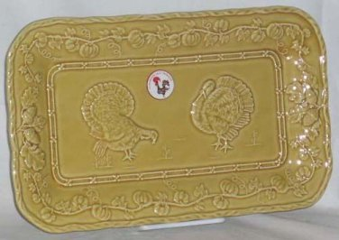 Bordallo Tray Platter Serving Majolica Turkeys Squash Pumpkins Dessert New