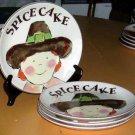 Rosanna Plates Pilgrim Giving Thanks Spice Cake Stoneware Set 4 New