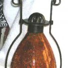 Garden House Lamp Lantern Crackle Glass Amber Candle Bronze Metal New