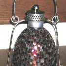 Garden Lantern Lamp Mosaic Orange Red Clear Pillar Candle Glass Silver Metal New