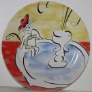 Rosanna Plate French Parisian Lady Cat Bread Boulangerie Dessert Stoneware New